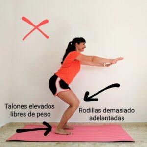 Error frecuente en la realización del ejercicio de sentadillas